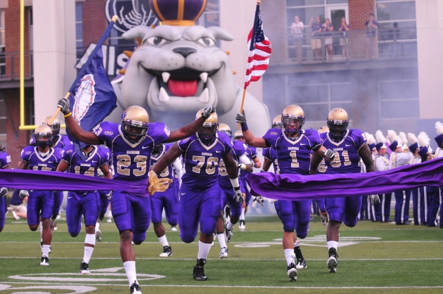 The Dukes take the field; photo by Ashley Grisham ('13)