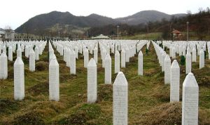 Lines of small white obelisks marking the graves of those lost in the Srebrenica massacre