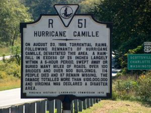 Roadside sign commemorating Hurricane Camille in Nelson Co., Va.