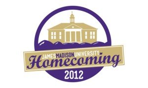 JMU's Homecoming 2012 purple and gold logo featuring Wilson Hall