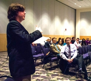 JMU senior Oliver Brass addresses the Citizenship Forum.