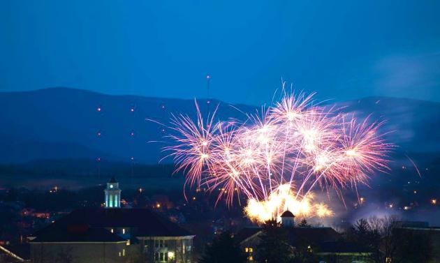 Fireworks at James Madison U, at inauguration of President Jonathan R. Alger