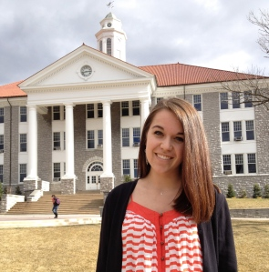 JMU senior Rachel Dawson in front of Wilson Hall