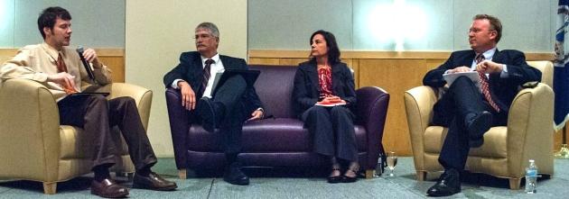 Brian Kaylor introduces panelists (l-r) Jim Shaeffer, Meg Mulrooney and Chaz Evans-Haywood