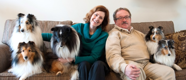 Candace Wilson-Bush and Jeff Bush with their therapy dogs