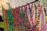Colorful varnished beads drying in the African sun