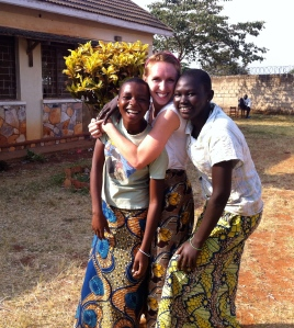 Jolly, Brittany and Lucy showing off their chitenges, a garment similar to a sarong (photo by Vero)