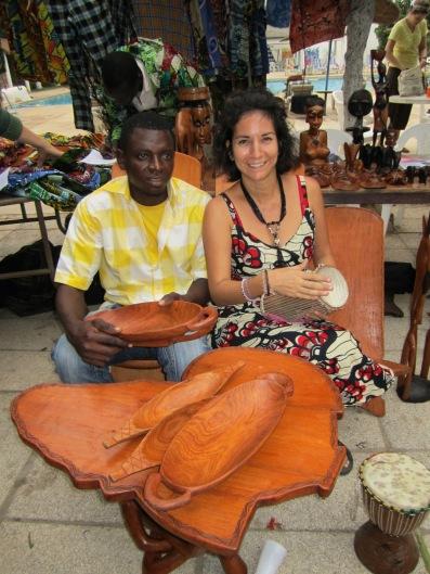 April Muniz with one of her work partners, Mamadou Dioum, at an Artisan Fair in Dakar