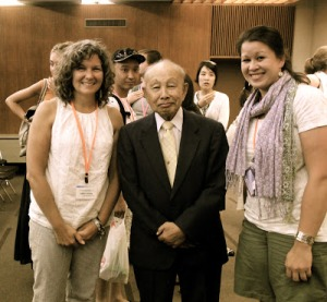 """Atomic bomb survivor Ken Matsushima, with Andrea and Heather. He said he shares his story over and over because he is a """"voice for the voiceless."""""""