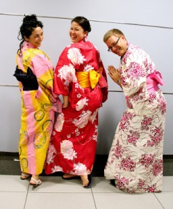 Students from the nursing workshop wearing Japanese nursing student's traditional Yukata. Heather is in the middle.
