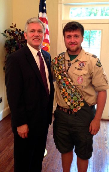 JMU President Jon Alger with Eagle Scout Hunter Morton ('17) (photo by Jim Milham, BSA)
