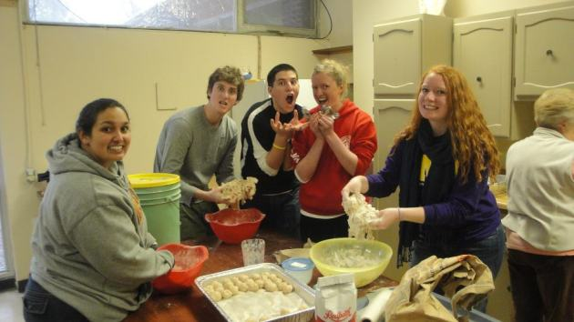 Making biscuit dough for a children's program during an ASB in Canada
