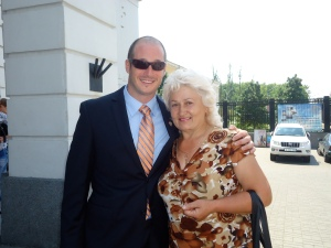 Pete with his host mother on his induction day