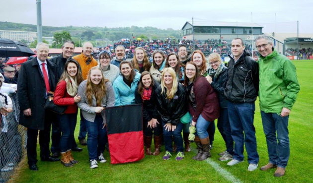 Students and faculty during a Gaelic football game in Newry, Northern Ireland