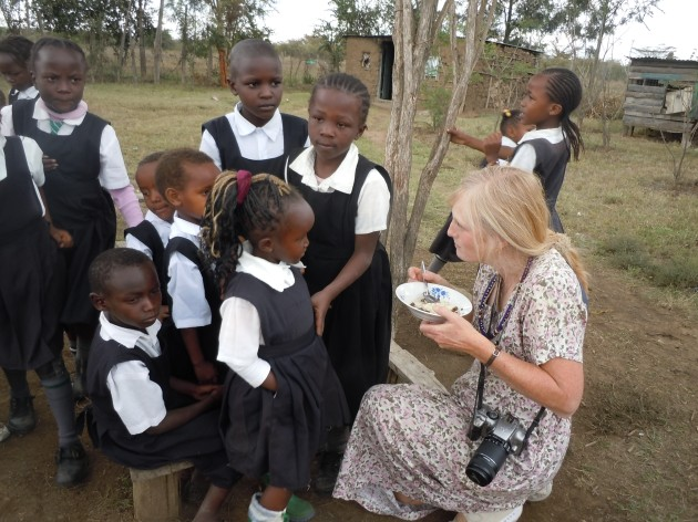Michelle Cude and students of the Nasaruni Academy for Maasai Girls