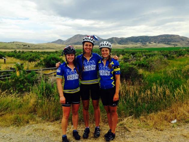 Hannah, Lizzy, and Jessie along the road during their 4,000 mile journey