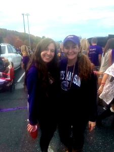 Rachel Petty ('17) on the right at GameDay